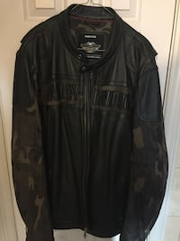 Black, brown, and gray camouflage harley-davidson leather zip-up jacket