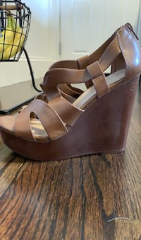 Aldo leather brown wedges size 7.5