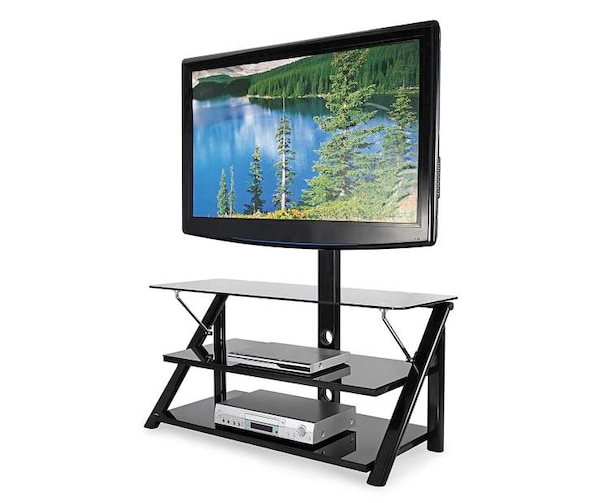 Used Swivel Mount Black Glass Tv Stand Tv Not Included For Sale In
