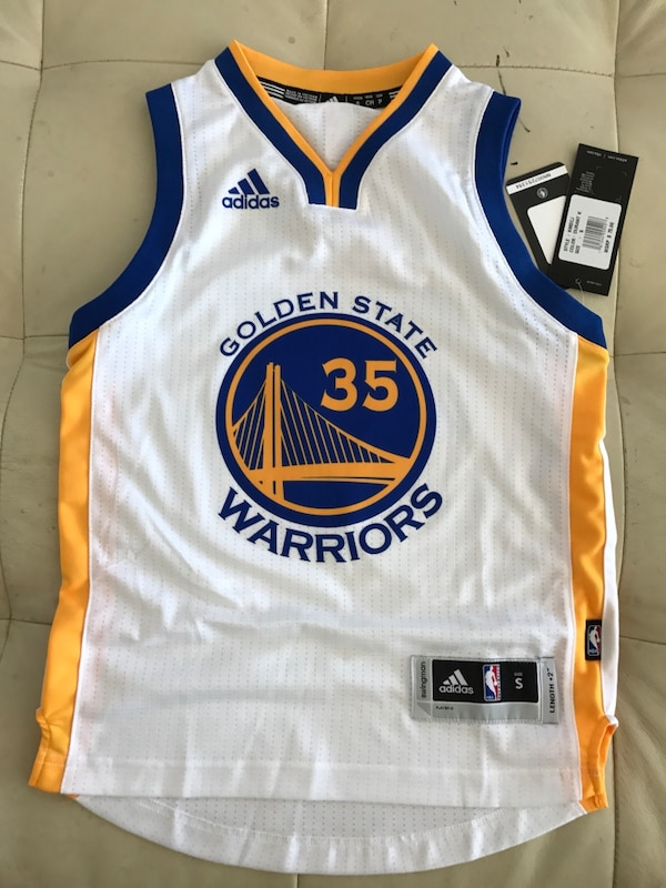 7d0005401 Used Small white and yellow golden state warriors kevin durant 35 adidas  basketball jersey for sale in South San Francisco