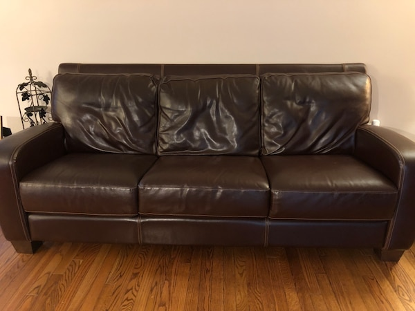 Chocolate leather couch, chair, bench