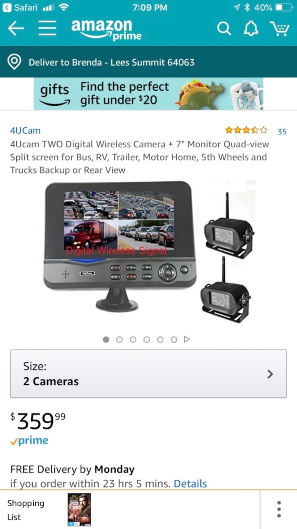 Cam 4 U >> Used 4u Cam 2 Wireless Backup Cameras With 7 Display Screen For