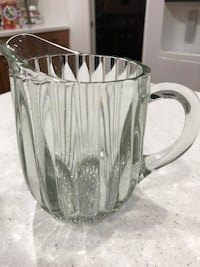 Vintage Glass pitcher. Heavy. Bubble bottom. Orlando