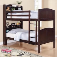 black wooden bunk bed with mattress Las Vegas, 89135