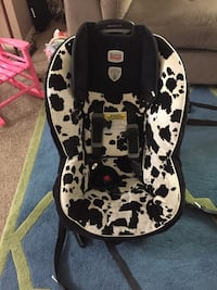 black and white car seat carrier