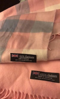 cashmere scarf 100% pink green and pink stripes