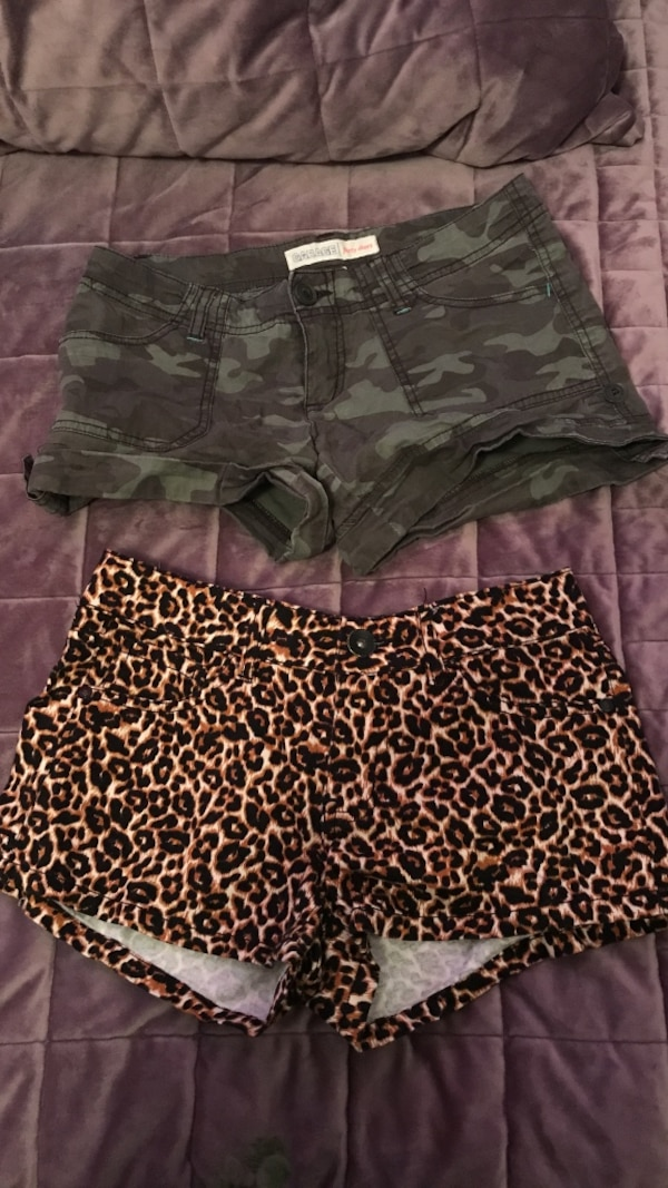 black and white leopard print shorts