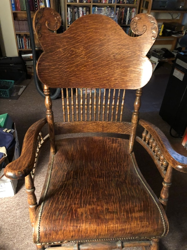 Miraculous Antique Tiger Oak Rocking Chair Hand Carved Machost Co Dining Chair Design Ideas Machostcouk