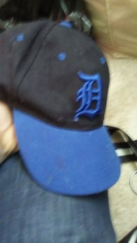 blue and black fitted cap Redford Charter Township, 48239