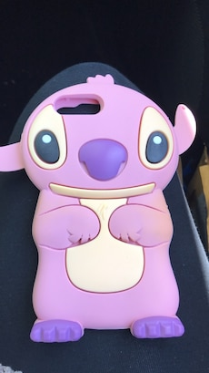 pink and purple Stitch character iPhone case