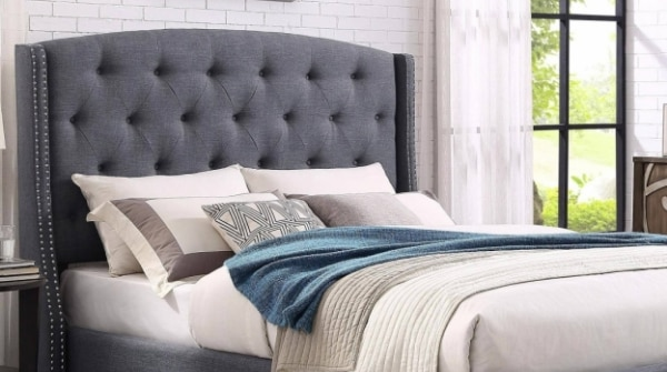 Eva Grey Fabric Tufted Headboard King Size Bed