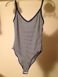 Size small brand new one piece top. Blue and white. Low cut back. Look for tons more fashion on my page Islip, 11751