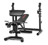 Olympic Workout Bench with Independent Squat Rack and Preacher Pad