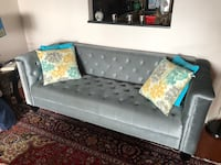 Tufted gray suede sofa with throw pillows Fort Washington, 20744
