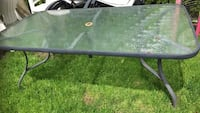 rectangular black metal framed glass top patio table Mississauga, L5A 3G3