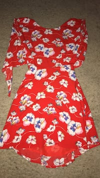 red, white and purple floral scoop neck long sleeve mini dress Killeen, 76542