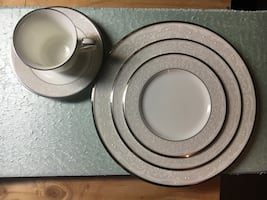 Noritake Platinum China Set (6 sets) with Platter.