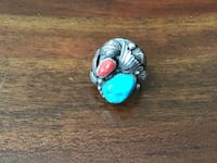 Sterling Turquoise/Coral ring Sierra Vista