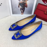 pair of blue and brown leather pumps New York