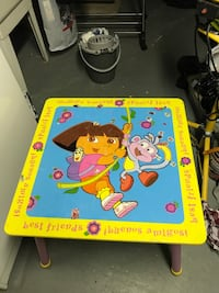Pink and purple Dora table