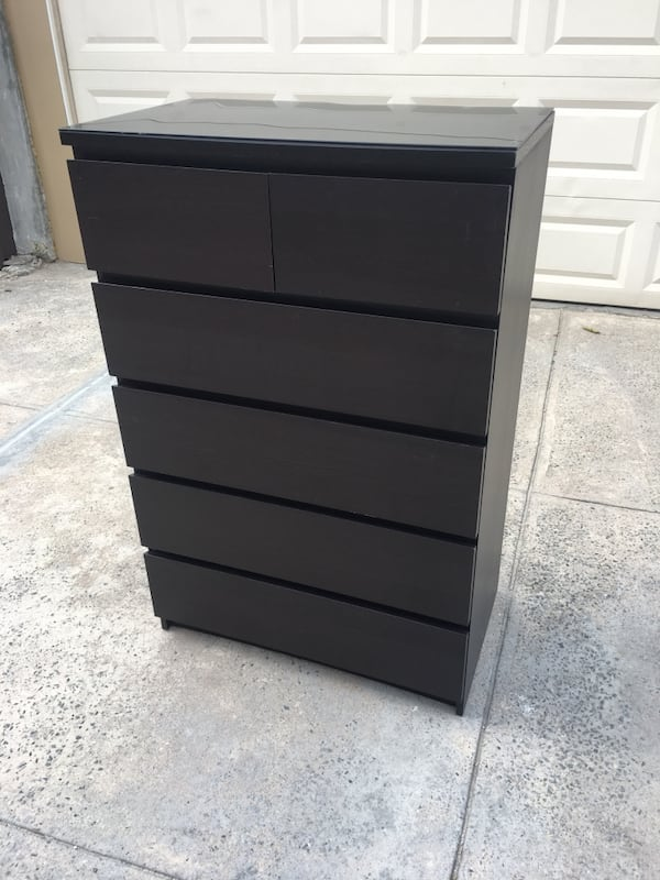 Used 6 Drawer Black Brown Dresser With