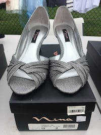 pair of gray open toe ankle strap heels Alexandria, 22310