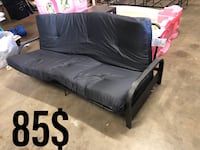 black leather padded futon with black metal frame Mercedes, 78570