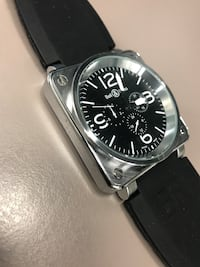Bell&Ross silver-chrono self winding watch with black rubber strap Markham, L3R 5G2