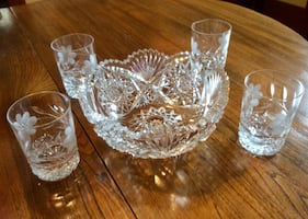 Crystal Bowl, Four Glasses