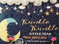 Twinkle Little Star Gender Reveal Back Drop 20$ with the gold sequel table cloth $35 Roosevelt, 11575