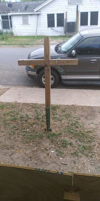Wooden crosses made out 4x4 wood.
