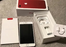 silver new Generation iPhone set with red iPhone 7 plus box