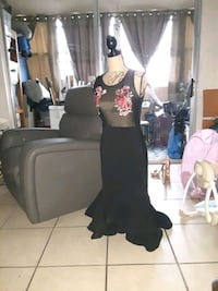 Black fitted dress w mesh and rose designed top and slight flare