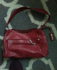 women's red leather sling bag