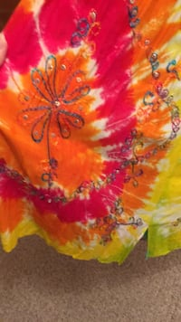 New Red and orange tie-dyed sundress bought in Mexico. Chatham, 62629
