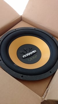 round black and yellow Pyramid subwoofer