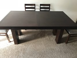 Cherry wood dining table with 5 chairs