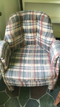 black, white, and gray plaid fabric sofa chair Brandon, 39042