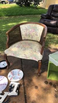 brown wooden framed floral padded armchair Port Saint Lucie, 34953