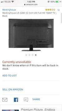 "Westinghouse 32"" smart tv Ottawa, K4A 4L8"