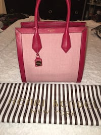 Henri Bendel Red Leather/Canvas Large Tote New York, 11426