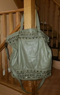 Bebe Army Green Studded Large Tote  Shoulder Bag