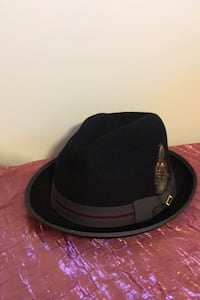 Stacey Adams Men's black fedora hat with feather  Frederick, 21703