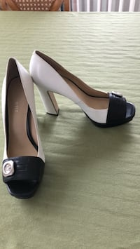 pair of black leather peep toe platform pumps Bethesda, 20814