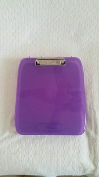 Purple, plastic clip board, closes to keep papers. Manassas, 20109