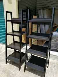 two brown wooden 5-layer racks Houston, 77084