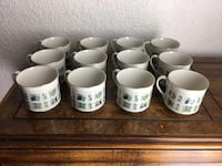 12- Royal Doulton Tapestry Cups TC1024 Fruit Flowers Light Green Panels Miami, 33155