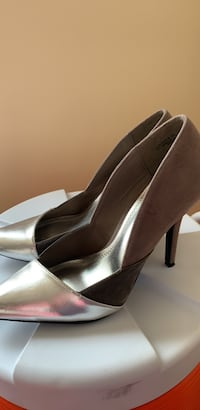 pair of gray leather platform stilettos Alexandria, 22306