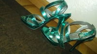 green-and-white leather open-toe heels Westminster, 80020