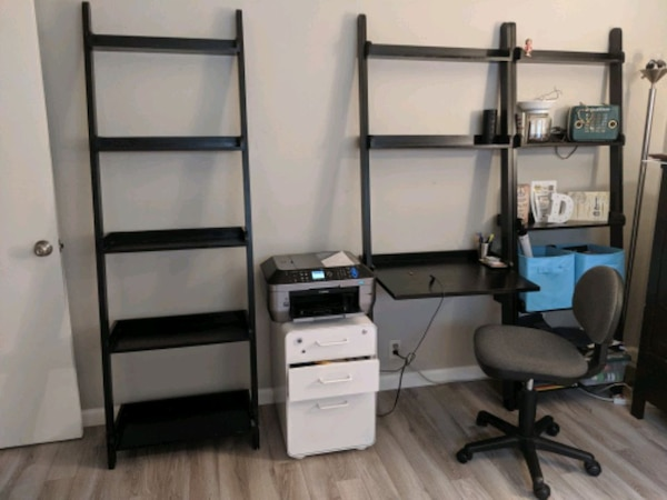 Fabulous Black Wall Desk And Two Matching Shelf Units Machost Co Dining Chair Design Ideas Machostcouk